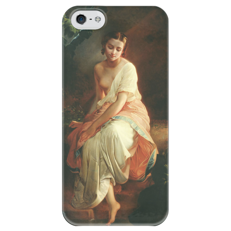Чехол для iPhone 5 глянцевый, с полной запечаткой Printio Купальщица (андрей беллоли)