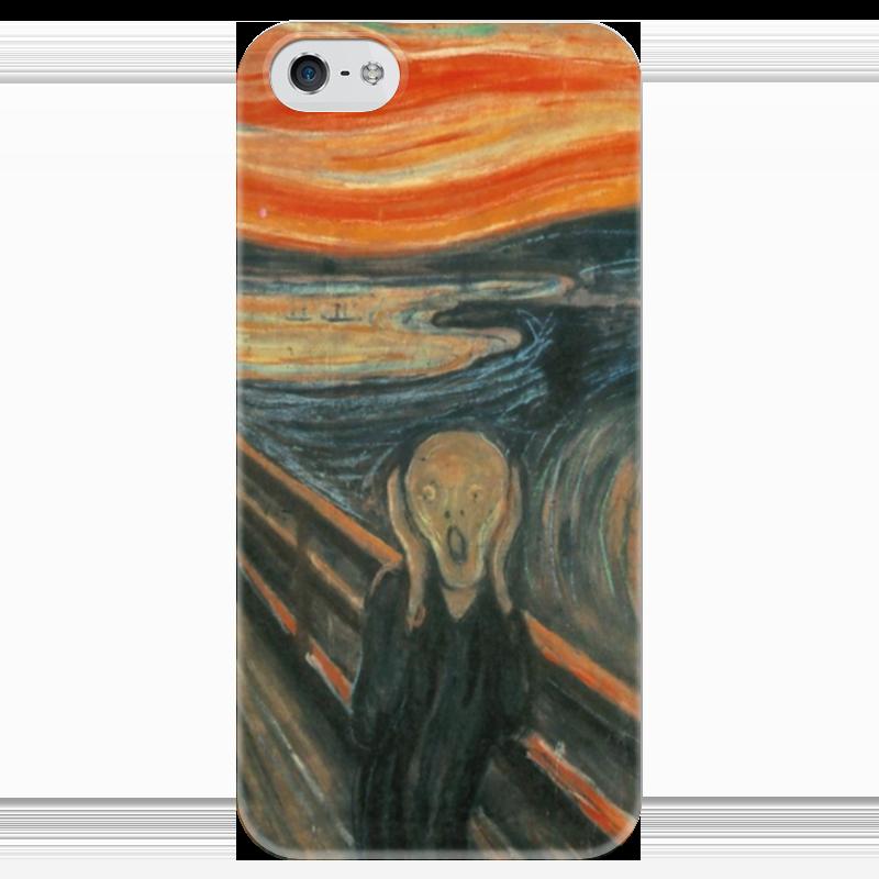 Чехол для iPhone 5 глянцевый, с полной запечаткой Printio Крик (картина эдварда мунка) тетрадь на скрепке printio крик картина мунка