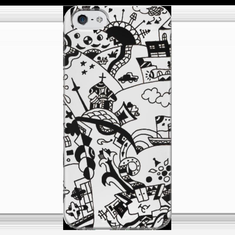 Чехол для iPhone 5 глянцевый, с полной запечаткой Printio Многоликая столица