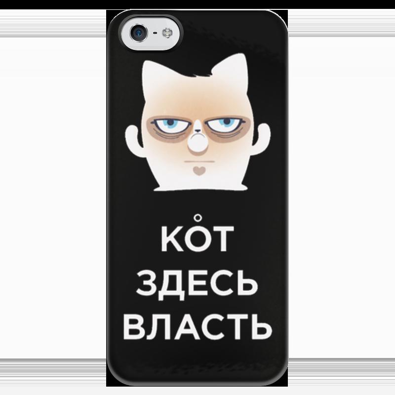Чехол для iPhone 5 глянцевый, с полной запечаткой Printio Кот здесь власть (черный) чехол для iphone 6 глянцевый printio кот бу