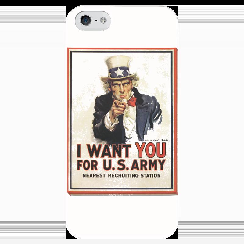 Чехол для iPhone 5 глянцевый, с полной запечаткой Printio I want you i want you to want me