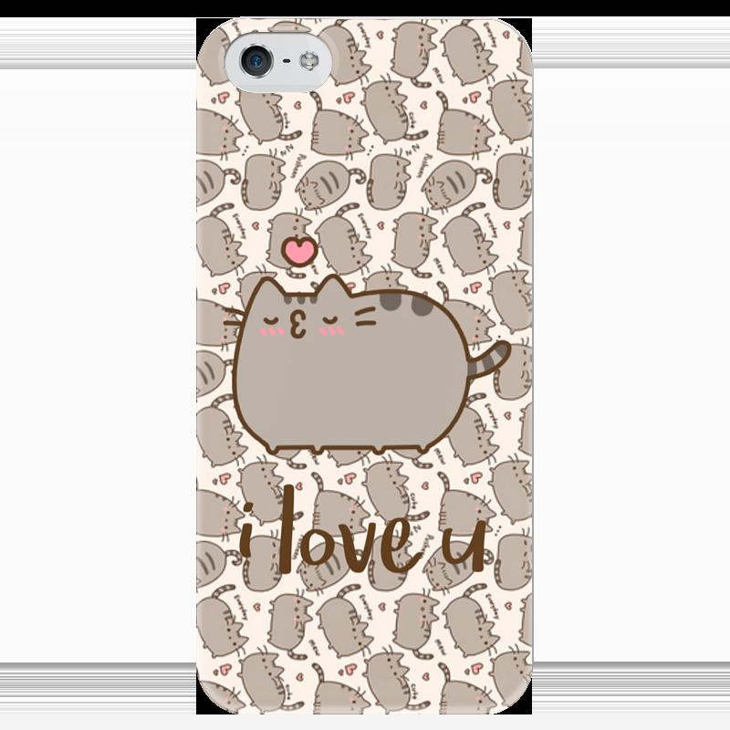 Чехол для iPhone 5 глянцевый, с полной запечаткой Printio Влюбленный котик чехол для iphone 5 printio чехол с мыслями о любви