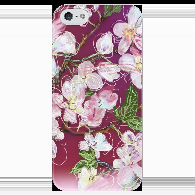 Чехол для iPhone 5 глянцевый, с полной запечаткой Printio Вишня цветет