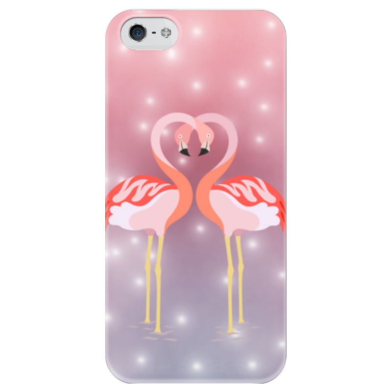 Чехол для iPhone 5 глянцевый, с полной запечаткой Printio Влюбленные фламинго чехол для карточек фламинго и ананас с усами дк2017 101