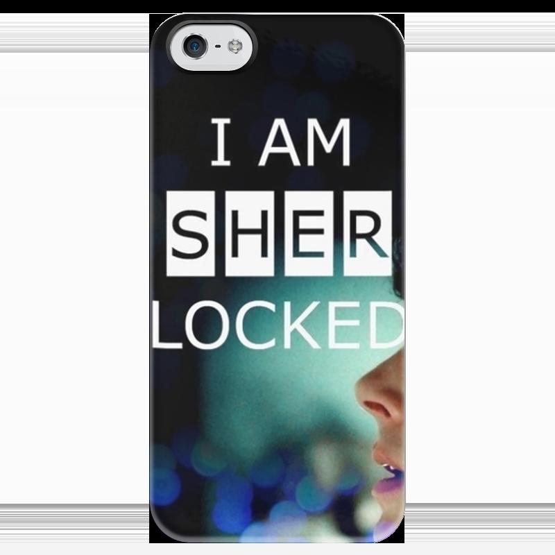 Чехол для iPhone 5 глянцевый, с полной запечаткой Printio Sherlock приходите завтра