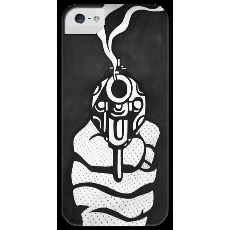 Чехол для iPhone 5 глянцевый, с полной запечаткой Printio Дуло пистолета патроны для клеевого пистолета