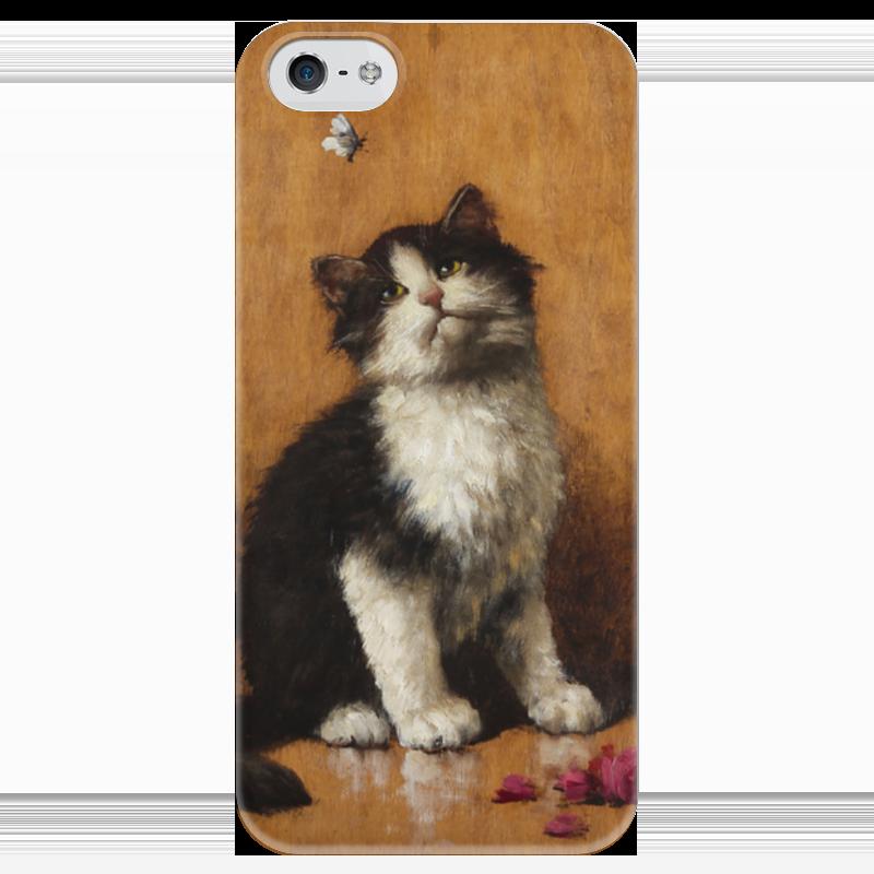 Чехол для iPhone 5 глянцевый, с полной запечаткой Printio Котёнок с бабочкой (леон чарльз хубер) чехол для iphone 5 глянцевый с полной запечаткой printio флаг пророка жан леон жером