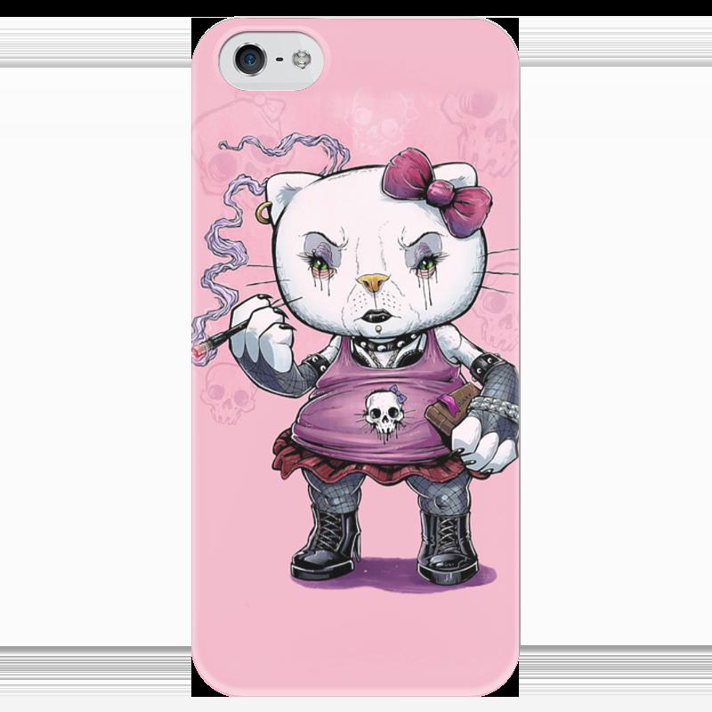 Чехол для iPhone 5 глянцевый, с полной запечаткой Printio Hello kitty goth