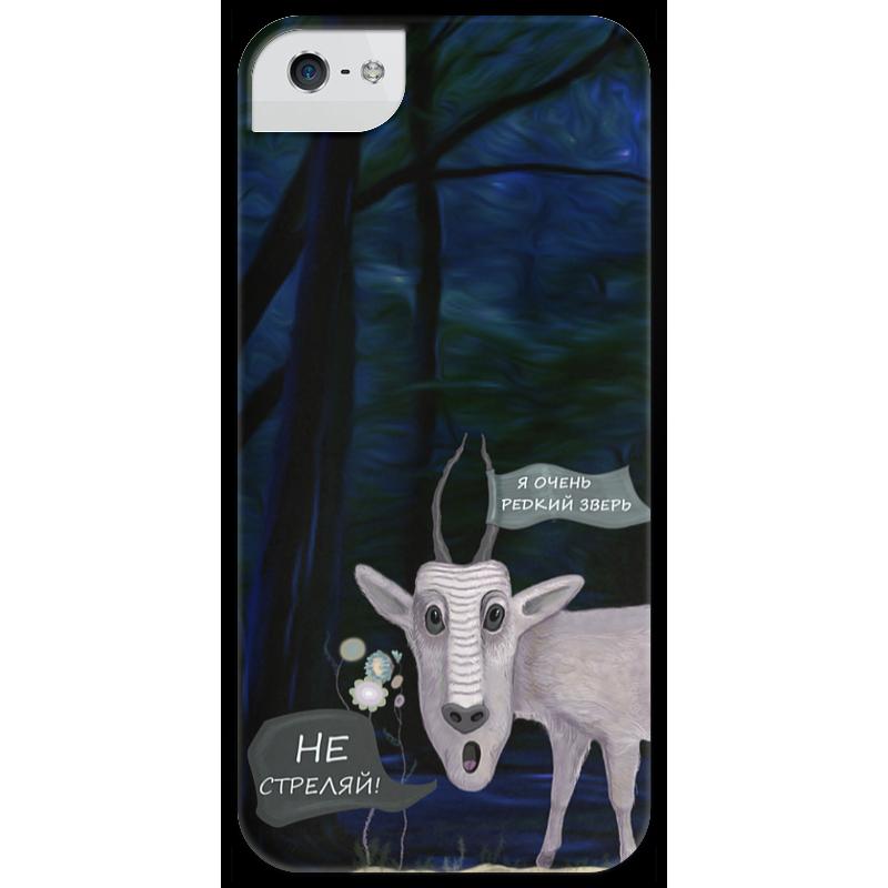 Чехол для iPhone 5 глянцевый, с полной запечаткой Printio Не стреляй! купить чехол на айфон 5 s disney