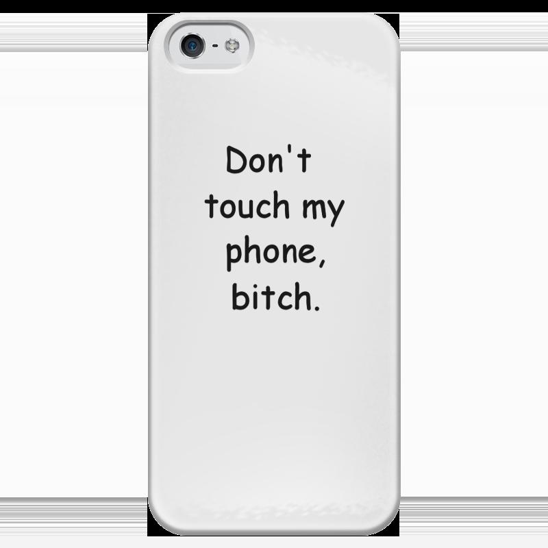 Чехол для iPhone 5 глянцевый, с полной запечаткой Printio Не трогай мой телефон блокнот не трогай мой блокнот а5 144 стр