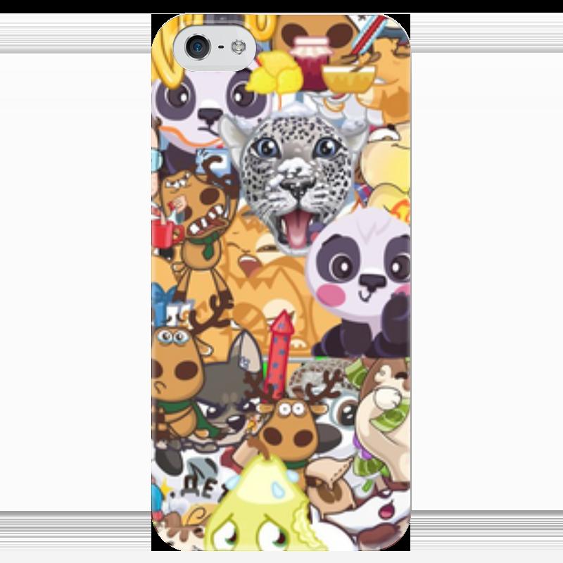 Чехол для iPhone 5 глянцевый, с полной запечаткой Printio Стикерs чехол для iphone 5 глянцевый с полной запечаткой printio икс 23 лора кинни