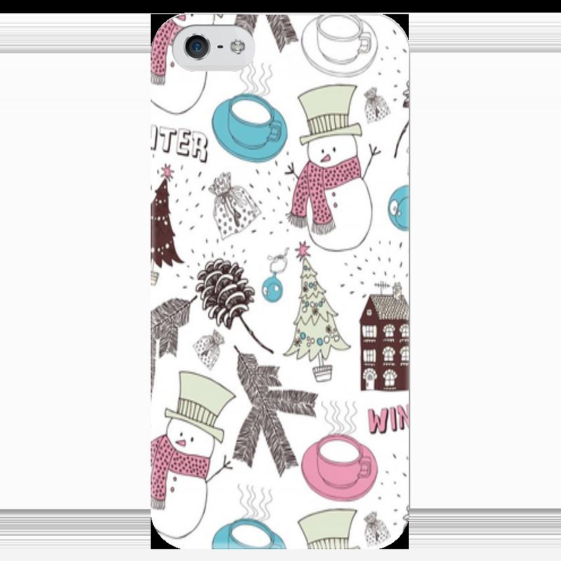 Чехол для iPhone 5 глянцевый, с полной запечаткой Printio Снеговик чехол для iphone 5 глянцевый с полной запечаткой printio не трогай мой телефон