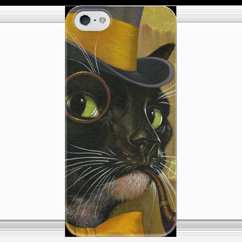 Чехол для iPhone 5 глянцевый, с полной запечаткой Printio Кот с трубкой чехол для iphone 6 глянцевый printio кот бу