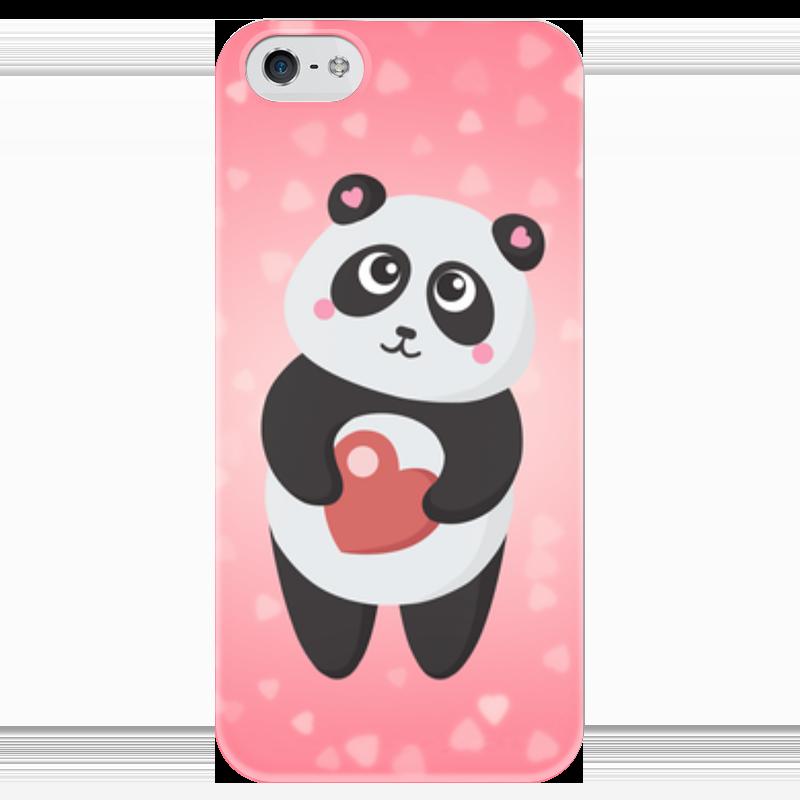 Чехол для iPhone 5 глянцевый, с полной запечаткой Printio Панда с сердечком футболка с полной запечаткой для девочек printio панда с сердечком