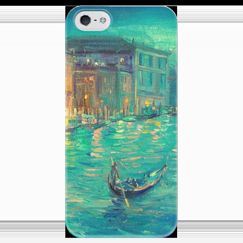Чехол для iPhone 5 глянцевый, с полной запечаткой Printio Бирюзовый вечер  венеции прогулки по венеции