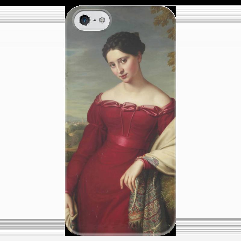 Чехол для iPhone 5 глянцевый, с полной запечаткой Printio Портрет молодой дамы в красном платье куплю еврозаборы в красном луче