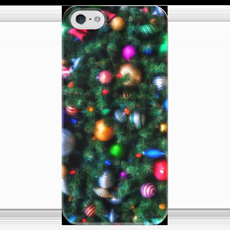Чехол для iPhone 5 глянцевый, с полной запечаткой Printio Нарядная елка (живопись)