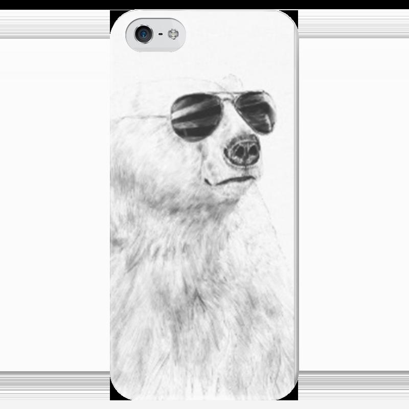 Чехол для iPhone 5 глянцевый, с полной запечаткой Printio Медведь в очках чехол для iphone 4 глянцевый с полной запечаткой printio эфиопка