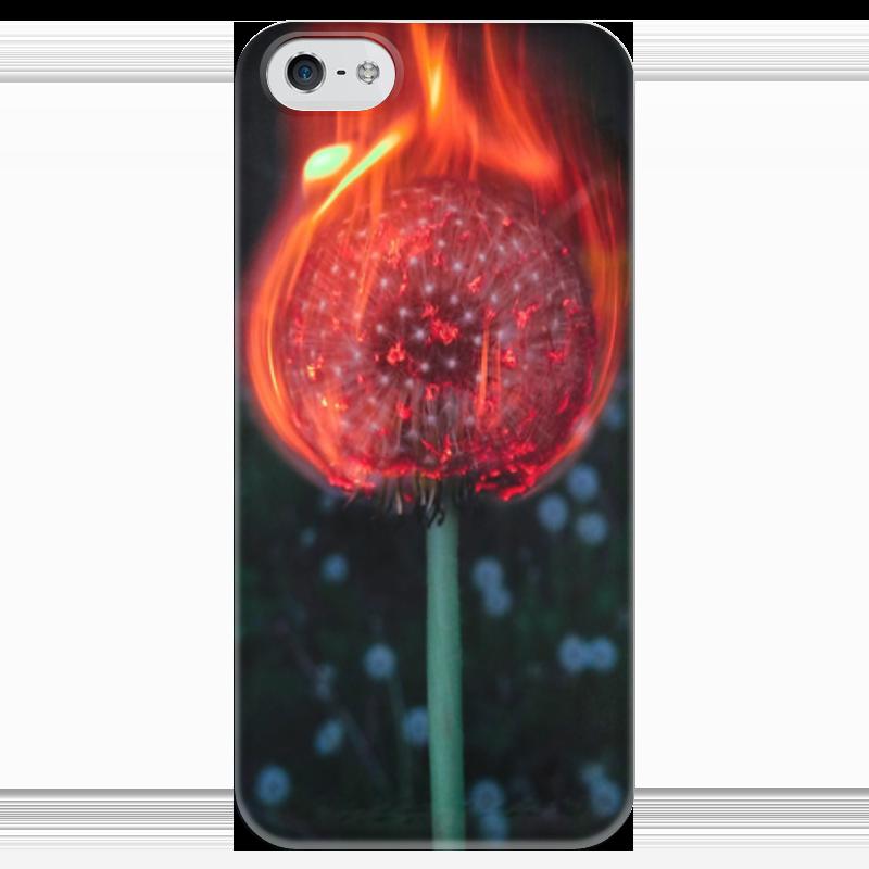 Чехол для iPhone 5 глянцевый, с полной запечаткой Printio Горящий одуванчик горящий берег