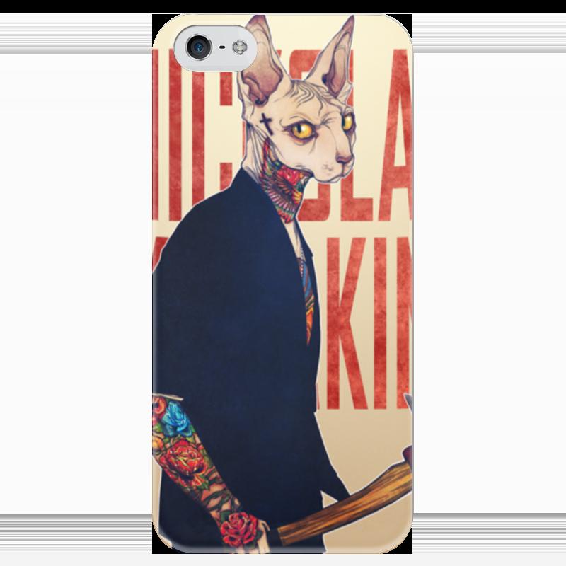 Чехол для iPhone 5 глянцевый, с полной запечаткой Printio Суровый кот чехол для iphone 6 глянцевый printio кот бу