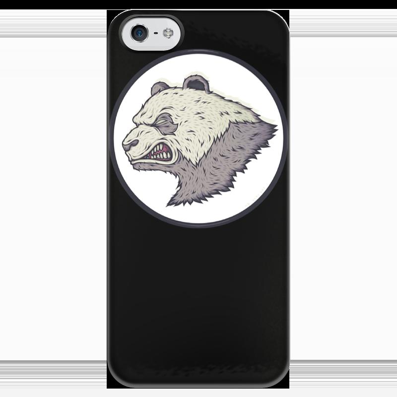 купить Чехол для iPhone 5 глянцевый, с полной запечаткой Printio Angry panda / злая панда по цене 1000 рублей