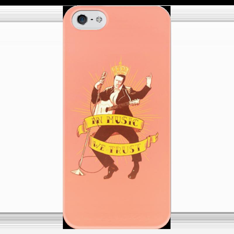 Чехол для iPhone 5 глянцевый, с полной запечаткой Printio Elvis presley - the king