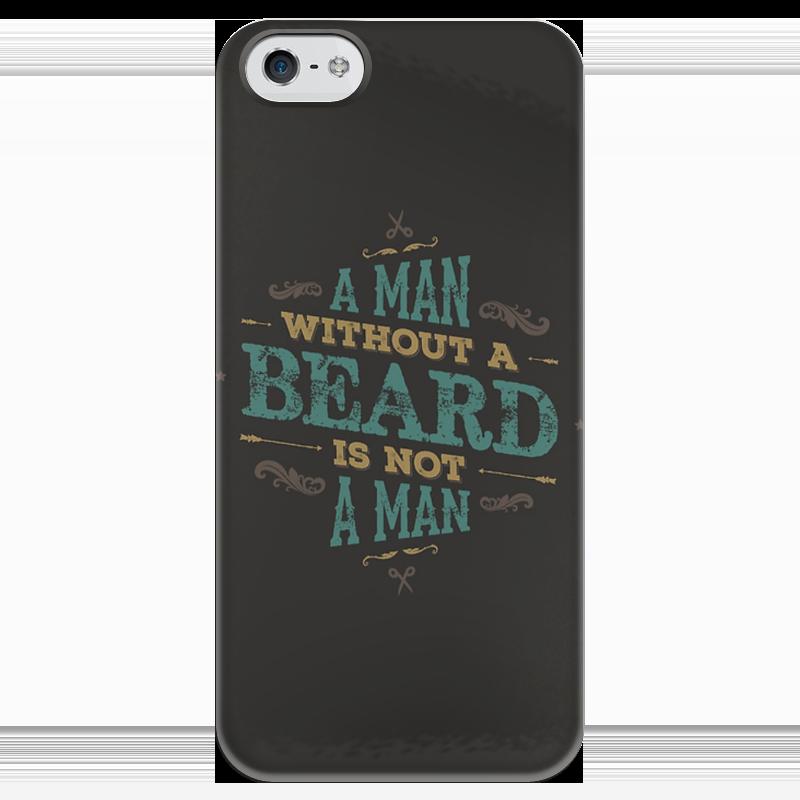 Чехол для iPhone 5 глянцевый, с полной запечаткой Printio A man without a beard is not a man a passionate man