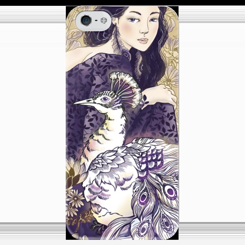 Чехол для iPhone 5 глянцевый, с полной запечаткой Printio Девушка и павлин