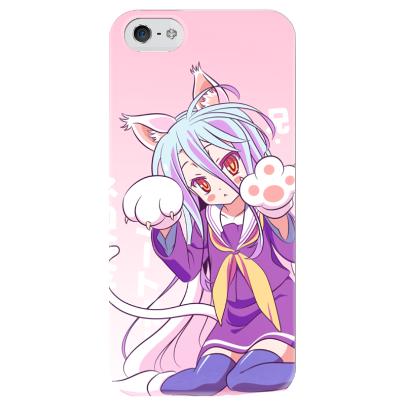 Чехол для iPhone 5 глянцевый, с полной запечаткой Printio Широ. no game no life 20cm anime life no game no life shiro game of life painted second generation game of life 1 7 scale pvc action figure model