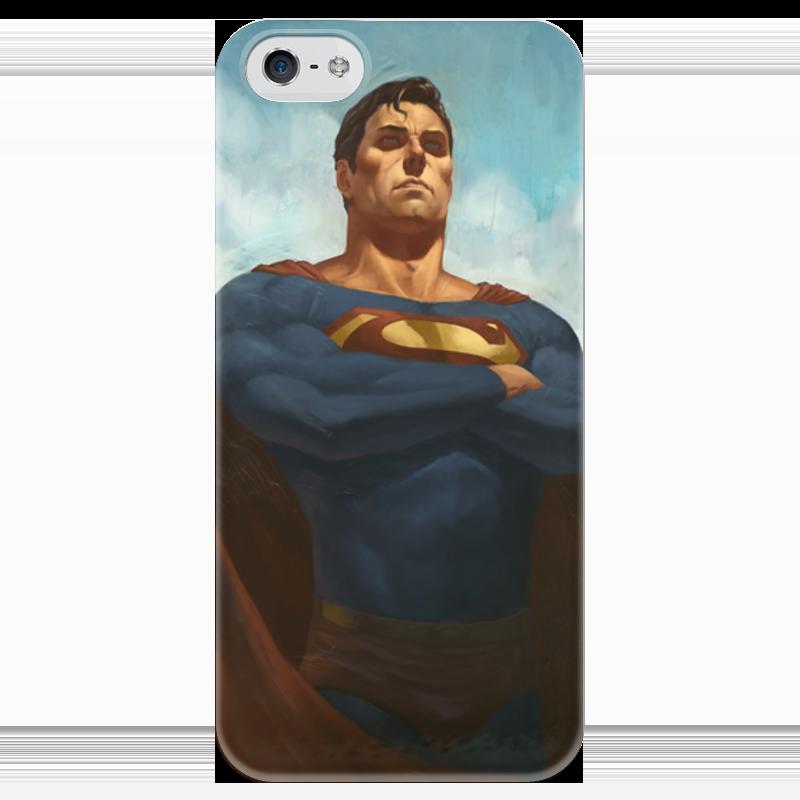 Чехол для iPhone 5 глянцевый, с полной запечаткой Printio Супермен (superman) чехол для iphone 4 глянцевый с полной запечаткой printio эфиопка