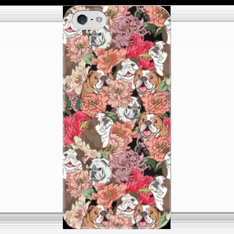 Чехол для iPhone 5 глянцевый, с полной запечаткой Printio Dogs and flowers чехол для iphone 4 глянцевый с полной запечаткой printio эфиопка