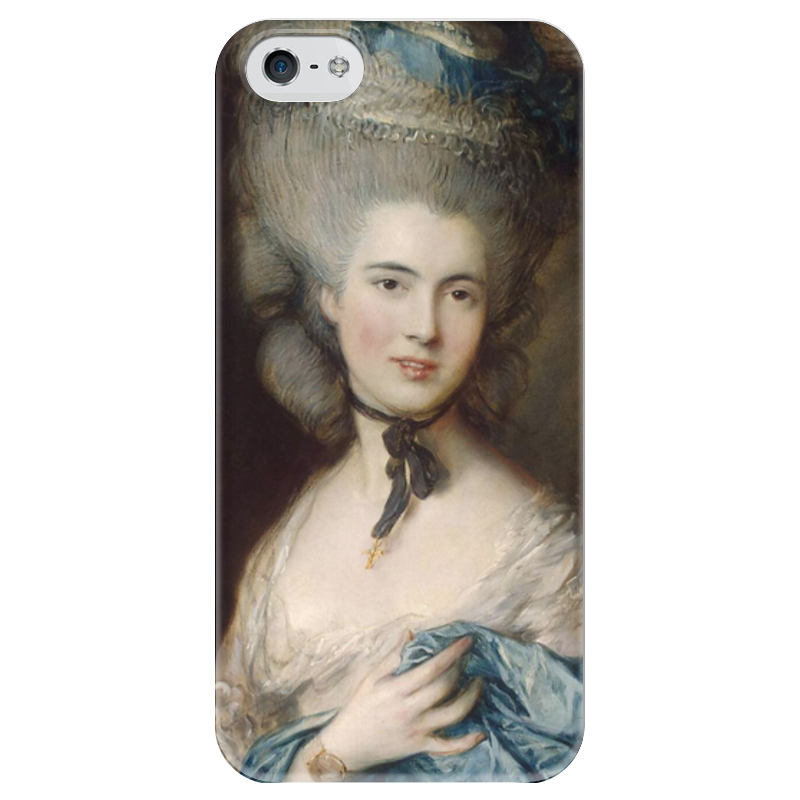 Чехол для iPhone 5 глянцевый, с полной запечаткой Printio Дама в голубом (картина гейнсборо) чехол для iphone 6 глянцевый printio дама в голубом картина сомова