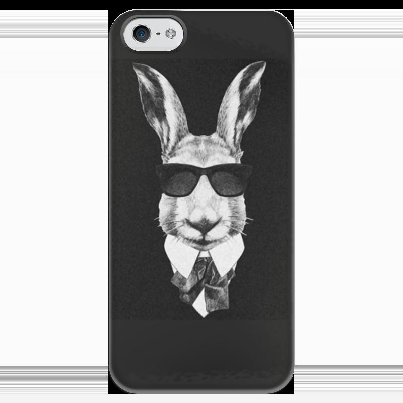Чехол для iPhone 5 глянцевый, с полной запечаткой Printio Черно-белый заяц