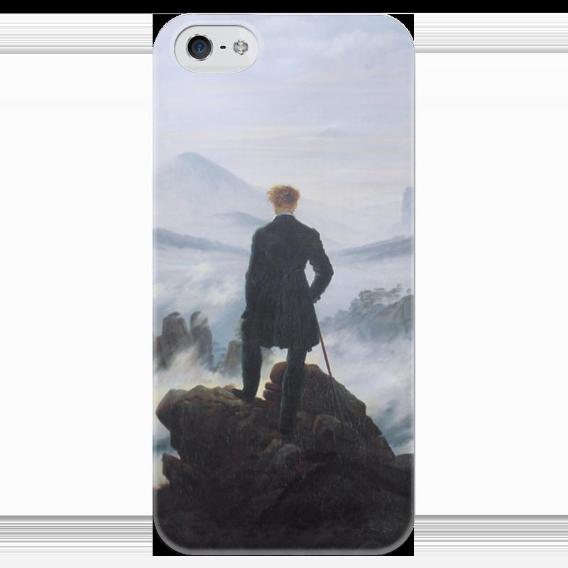 Чехол для iPhone 5 глянцевый, с полной запечаткой Printio Странник над морем тумана (каспар фридрих) купить аксессуары для водяного тумана