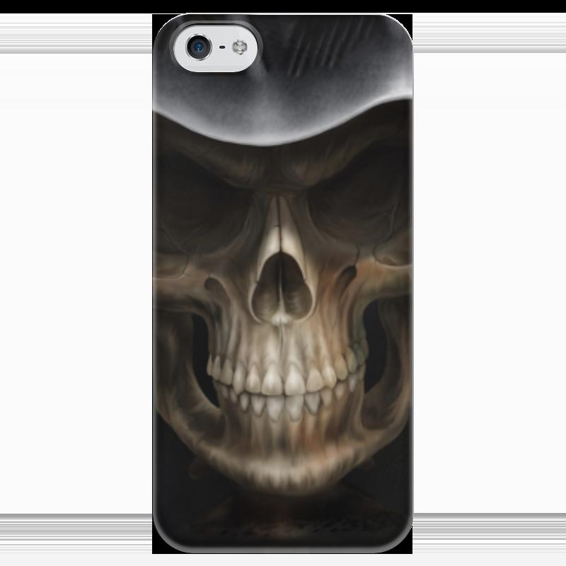 Чехол для iPhone 5 глянцевый, с полной запечаткой Printio Череп в капюшоне чехол для iphone 4 глянцевый с полной запечаткой printio череп