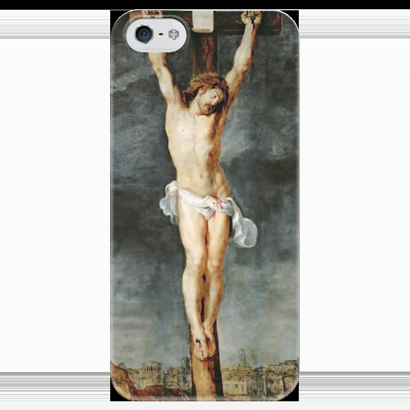 Чехол для iPhone 5 глянцевый, с полной запечаткой Printio Христос на кресте вышивка бисером молящийся христос