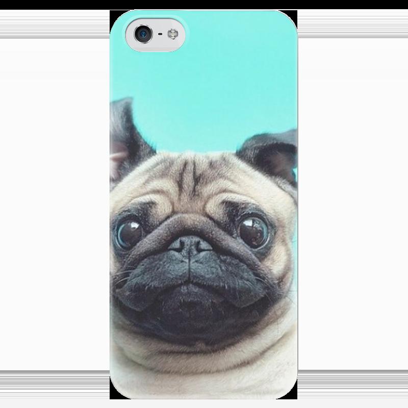Чехол для iPhone 5 глянцевый, с полной запечаткой Printio Мопсик