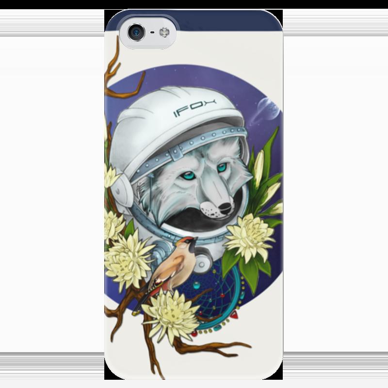 Чехол для iPhone 5 глянцевый, с полной запечаткой Printio Лис-космонавт чехол для iphone 4 глянцевый с полной запечаткой printio волк и лис