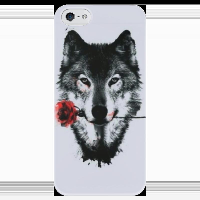 Чехол для iPhone 5 глянцевый, с полной запечаткой Printio Волк и роза чехол для iphone 4 глянцевый с полной запечаткой printio волк и лис
