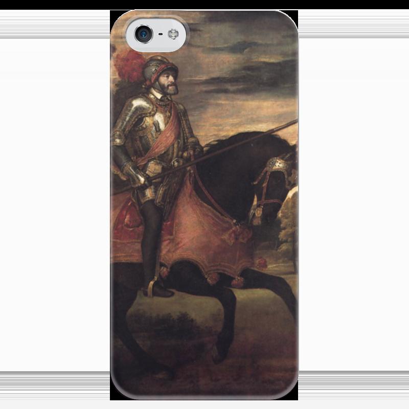 Чехол для iPhone 5 глянцевый, с полной запечаткой Printio Конный портрет карла v (тициан)
