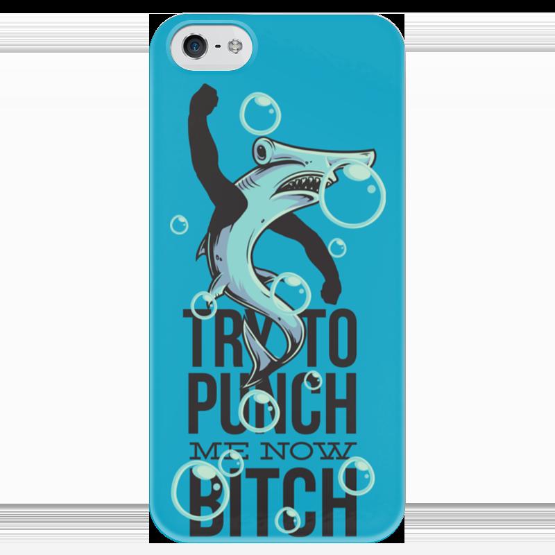 Чехол для iPhone 5 глянцевый, с полной запечаткой Printio Акула чехол для iphone 4 глянцевый с полной запечаткой printio эфиопка
