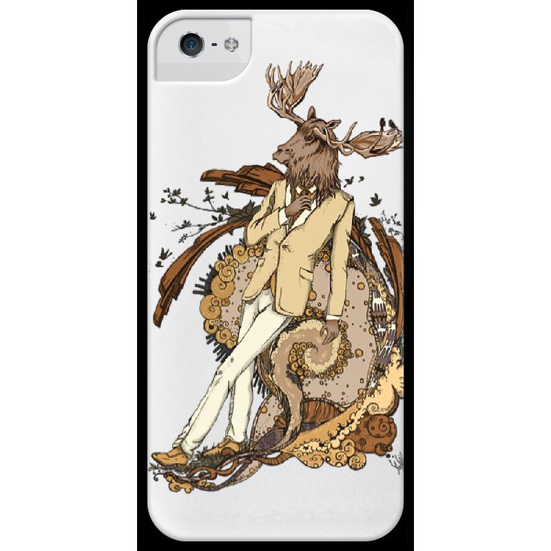 Чехол для iPhone 5 глянцевый, с полной запечаткой Printio Dandy moose tatkraft dandy