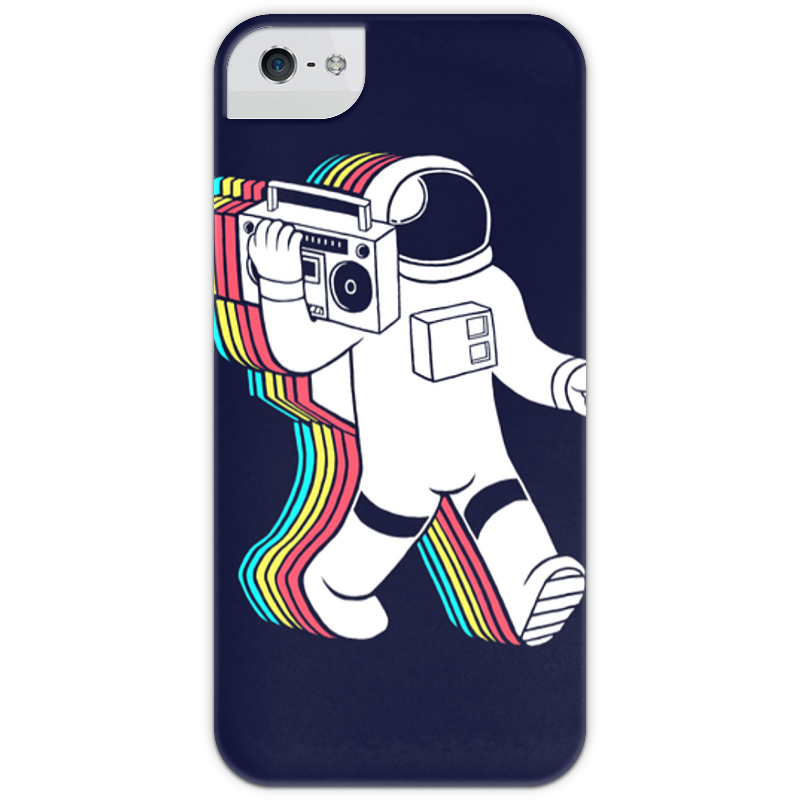 Чехол для iPhone 5 глянцевый, с полной запечаткой Printio Радужный космонавт чехол