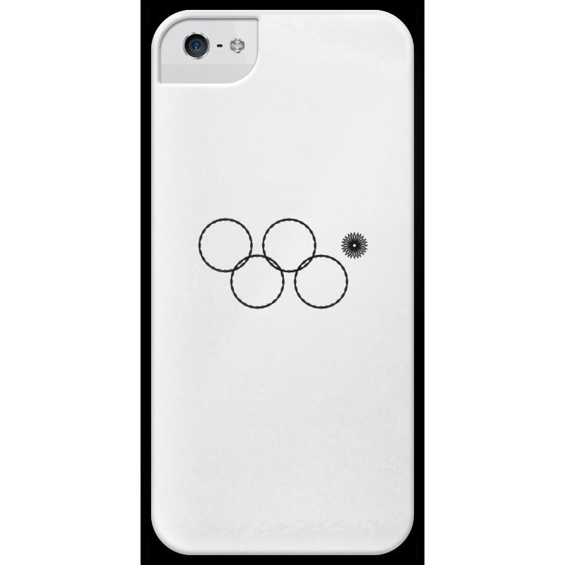 Чехол для iPhone 5 глянцевый, с полной запечаткой Printio Олимпийские кольца в сочи 2014 кольца кюз дельта 114454 d