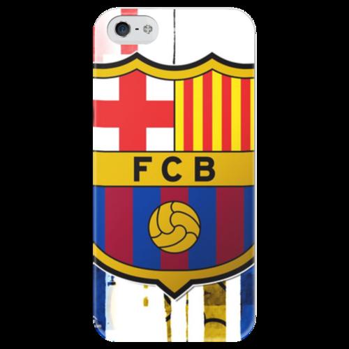 """Чехол для iPhone 5 глянцевый, с полной запечаткой """"Футбольный клуб(Барселона)"""" - barcelona, барселона, fcb, barca"""