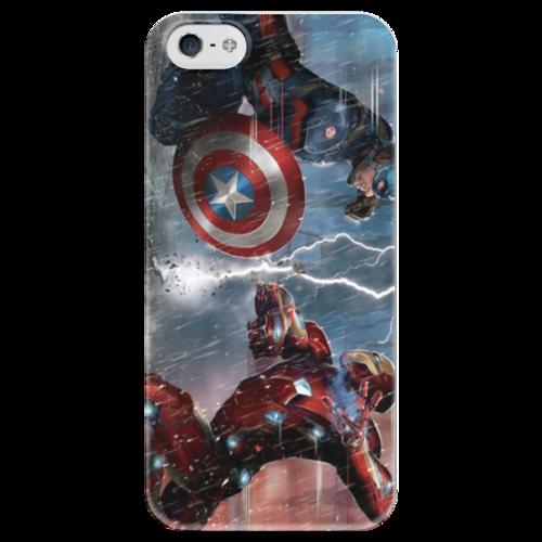 """Чехол для iPhone 5 глянцевый, с полной запечаткой """"Кэп и Тони, Гражданская война"""" - марвел, железный человек, капитан америка, гражданская война"""