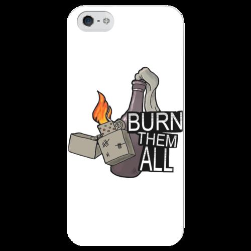 """Чехол для iPhone 5 глянцевый, с полной запечаткой """"cs go коктейль молотова"""" - cs, counter strike, csgo, cs go"""