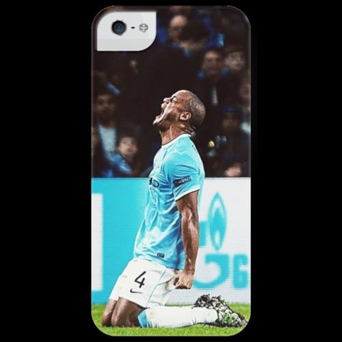 """Чехол для iPhone 5 глянцевый, с полной запечаткой """"Manchester City (Компани) """" - манчестерсити, vincent kompany, венсан компани, manchester city fc"""