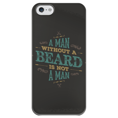 "Чехол для iPhone 5 глянцевый, с полной запечаткой ""A MAN WITHOUT A BEARD IS NOT A MAN"" - man, хипстер, борода, beard, hipster"