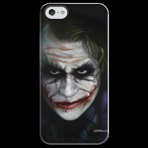 """Чехол для iPhone 5 глянцевый, с полной запечаткой """"Джокер"""" - comics, joker, batman, джокер, dc, суперзлодей, тёмный рыцарь, the dark knight, supervillain, шутник"""